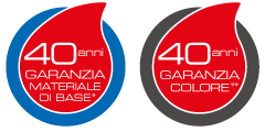 40 anni di garanzia materiale di base e sul colore